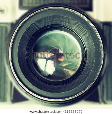 vintage camera  lens close up - stock photo