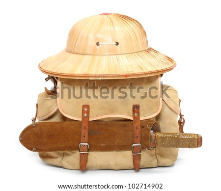 Vintage camping gear for travelers to the tropics. - stock photo