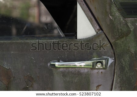 vintage car detail on door