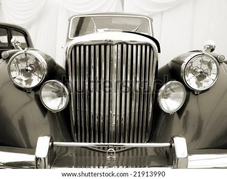 Vintage car detail. Sepia - stock photo