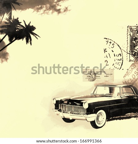 vintage car on a palm trees background  - stock photo