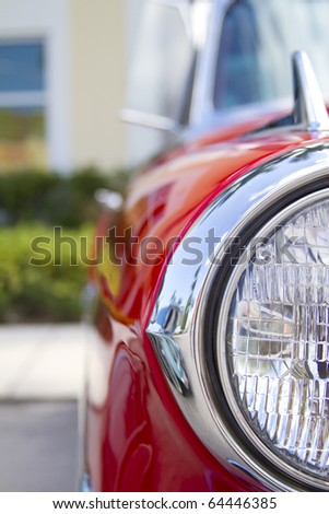 vintage car, perspective from the front headlight - stock photo