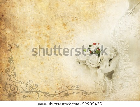 vintage card of a bride with a wedding bouquet - stock photo