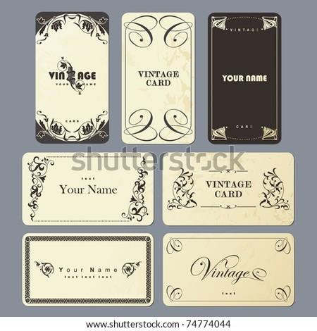 vintage card set - stock photo