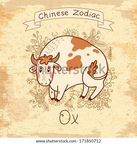 Vintage card with Chinese Zodiac - Ox. - stock photo