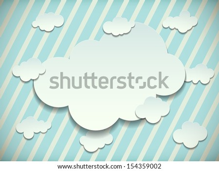 Vintage card with cut out white paper clouds