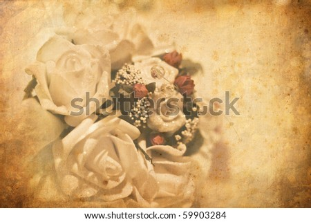 vintage card with flowers - stock photo