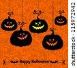 Vintage card with Halloween pumpkins.  illustration - stock vector