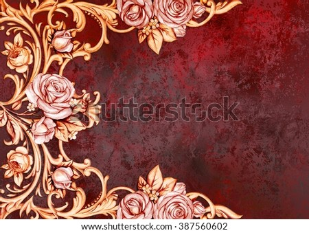 Vintage card with roses on deep red background - stock photo