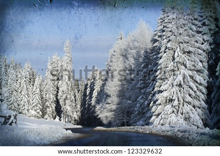 Vintage card with winter scene - stock photo