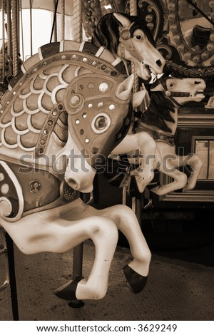 vintage carousel horse - stock photo