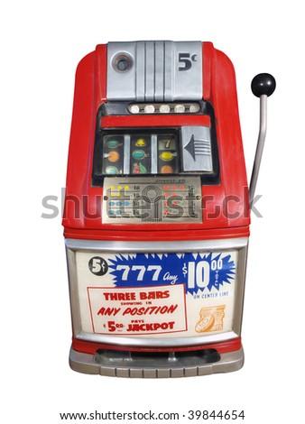 Vintage casino slot machine in excellent condition. - stock photo
