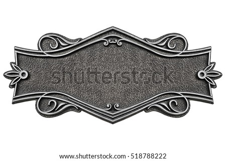 Vintage cast metal plate isolated on white background