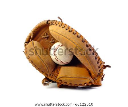 Vintage catchers mitt on white background - stock photo
