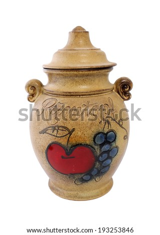 vintage ceramic pot with lid isolated on white background - stock photo