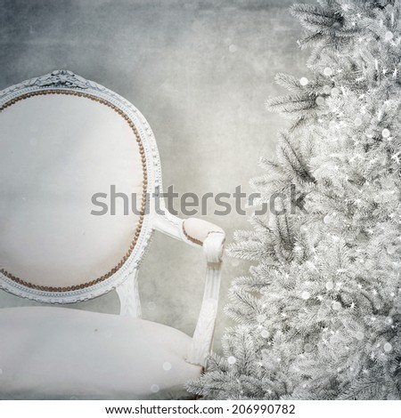 vintage chair and christmas tree - stock photo