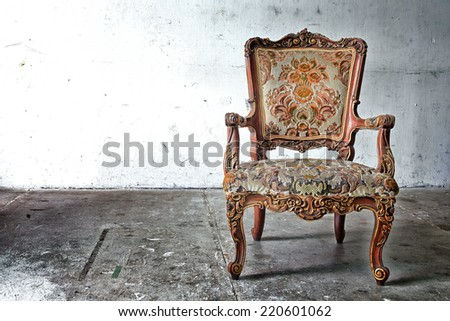 Vintage Chair contemporary style in vintage room - stock photo