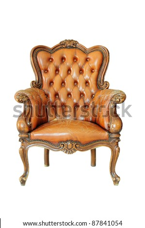 Vintage chair isolated on white - stock photo