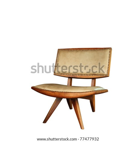 Vintage Chair Isolated On White Background No Shadow
