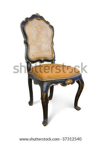 Vintage chair. Isolated on white with clipping path - stock photo