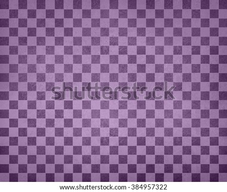 vintage checkered background pattern, rows of purple squares with distressed vintage texture, purple checked wallpaper design, shabby chic country style - stock photo