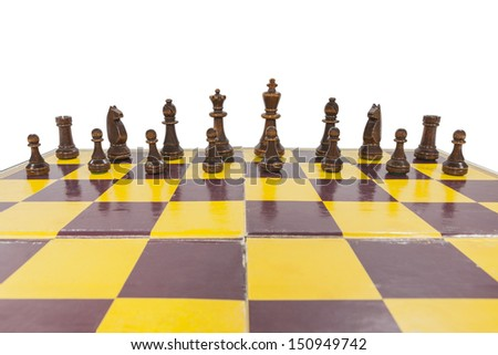 Vintage chess board with black side lined up.   - stock photo