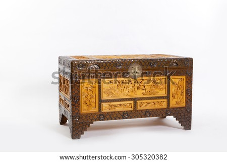 Vintage Chinese cabinet - stock photo
