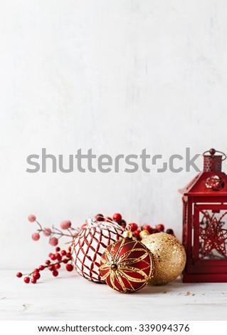 Vintage Christmas balls and a lantern - stock photo