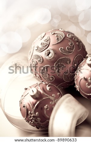 Vintage christmas balls and gift ribbon