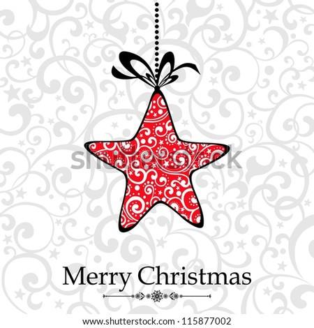 Vintage Christmas Card. Beautiful Christmas Star.  Illustration - stock photo