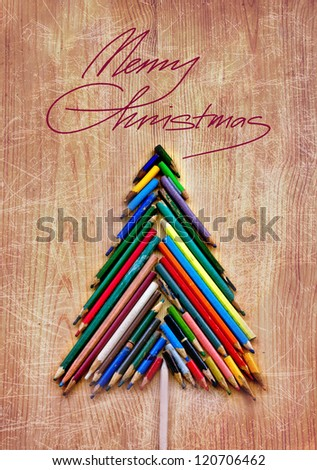 vintage christmas card whit colorful pencils  as christmas tree /xmas concept/original christmas background with pencils - stock photo