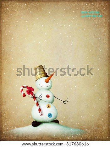 Vintage Christmas card with  snowman - stock photo