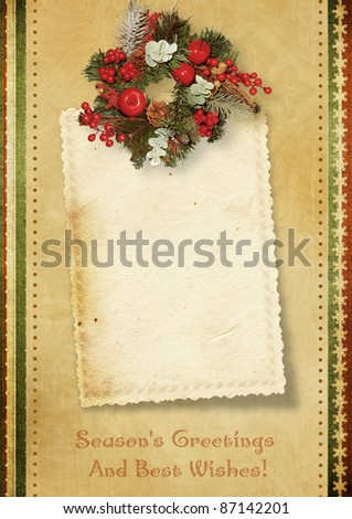 Vintage Christmas card with the wishes - stock photo
