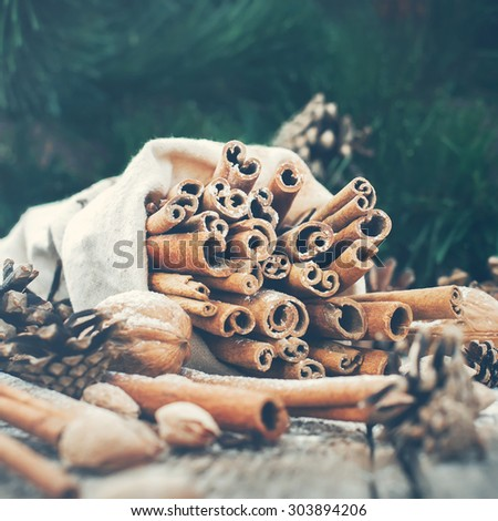 Vintage Christmas Composition with Sticks of Cinnamon, pine cones and walnuts on Green Fir Tree Background. Toned - stock photo