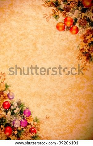 Vintage Christmas  Corner Desing Series on Parchment Paper - stock photo
