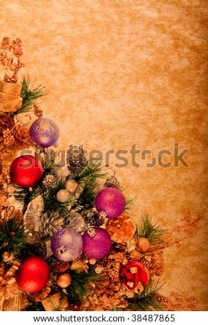 Vintage Christmas Decoration Corner Series on Parchment Paper - stock photo
