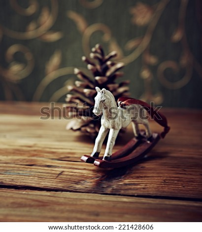 Vintage Christmas Decoration on Wooden Surface - stock photo
