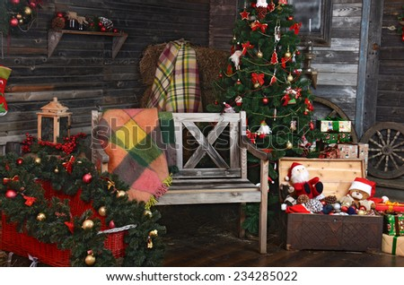 vintage christmas decoration over old wooden background - stock photo