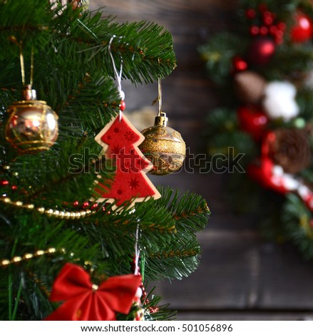 vintage christmas decoration over old wooden background