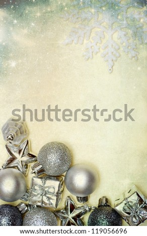 Vintage Christmas decoration with balls and copy space - stock photo