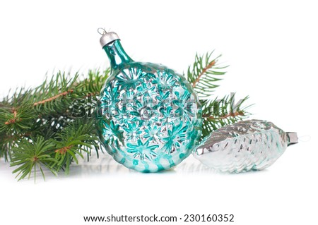 Vintage Christmas decorations and spruce branches on white background isolated