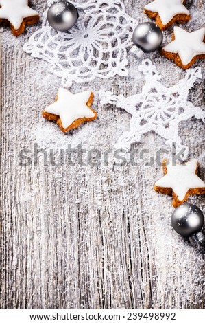 Vintage Christmas decorations on old wood background - stock photo