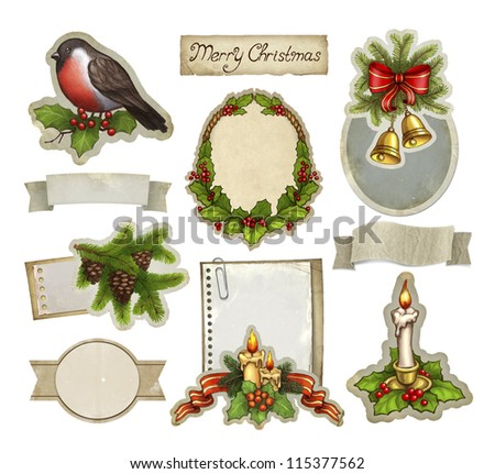 Vintage christmas decorative elements - stock photo