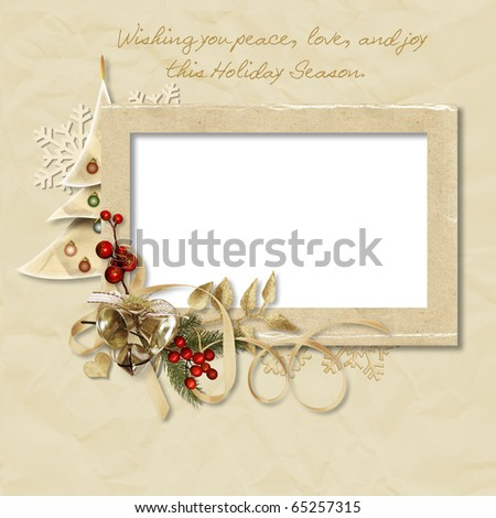 Vintage Christmas frame with the wishes - stock photo