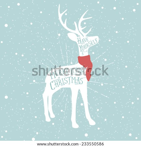 Vintage Christmas greeting card with reindeer - stock photo