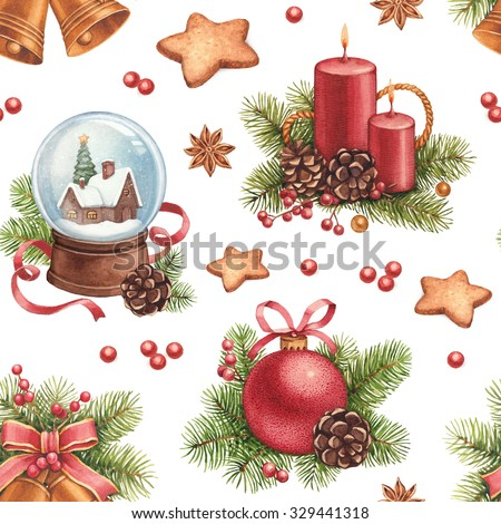 Vintage Christmas Pattern Watercolor Illustrations Of Decorations