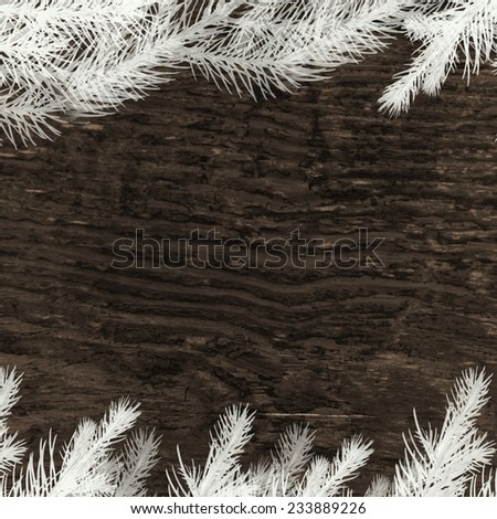 vintage christmas pattern - wood background with white frozen pine twigs  - stock photo