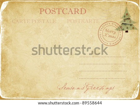 Vintage Christmas  postcard - stock photo