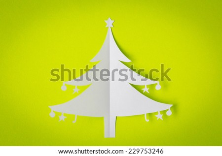 Vintage Christmas postcard with true paper christmas tree - stock photo