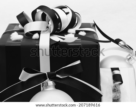 Vintage christmas present with decoration - stock photo